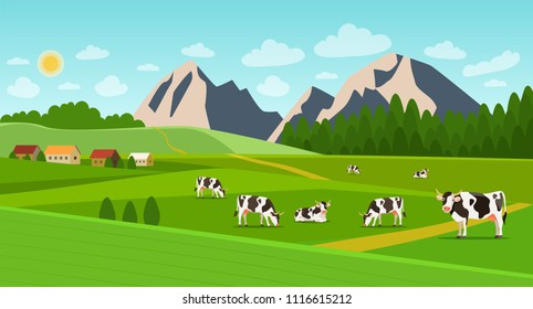 Summer landscape with village and herd of cows on the field. Vector flat style illustration.