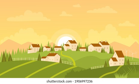 Summer landscape with village and sunrise vector illustration. Cartoon farm countryside outdoor view with farmer houses on fresh green meadow hills, mountains and sun on morning sky background