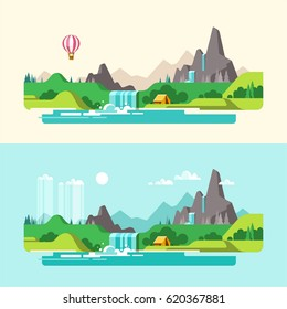 Summer landscape. Weekend in the tent. Hiking and camping. Vector illustration in flat design style.