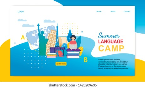 Summer Language Camp. Cartoon Girl with Notebook Learn Languages Abroad. Study English French Italian Spanish. Europe Country Education. Children Travel Program. Summer Vacation Holidays Trip