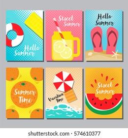 Summer, layout design, cover book, banner, card, vector illustration.