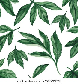 Summer leaves. Seamless, hand painted, watercolor pattern. Vector background