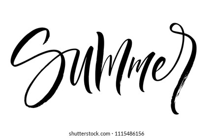 Summer lettering. Handwritten modern calligraphy, brush painted letters. Inspirational text, vector illustration. Template for banner, poster, flyer, greeting card, web design or photo overlay
