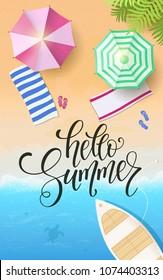 Summer lettering, palm branches. Tropical background, blue ocean landscape. Vector illustration EPS10.