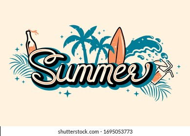 Summer lettering print. Cocktail, surf, waves, tropic leaves, palm trees on island background. Tropical border.