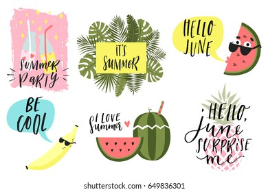 Summer lettering set with cute holiday elements. Lemonade, banana, watermelon, ice cream, pineapple, palm, tropic, sun. Typographic design Vector illustration