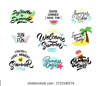 Summer lettering set of labels, logos, hand drawn tags and elements for summer holiday, travel agency, beach vacation and party. Vector illustration.  Poster set Isolated on white background.