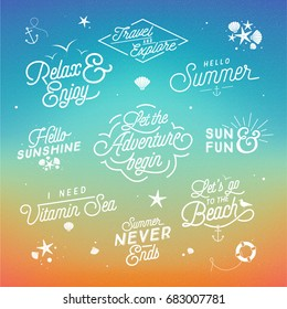 Summer Lettering Set - Vintage Typographic Badges