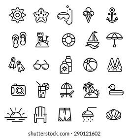 Summer line icons set.