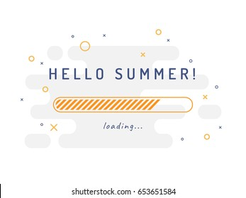 Summer loading - vector illustration. Grey background.