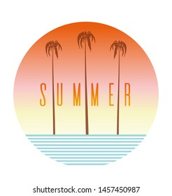Summer logo design. Round banner with palm tree, sea and lettering. Vector illustration