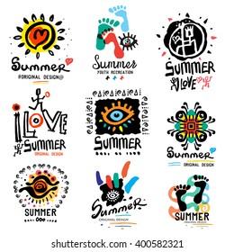 Summer logo. Modern summer illustration. Logo handmade on the theme of summer and relaxing. Modern urban style.