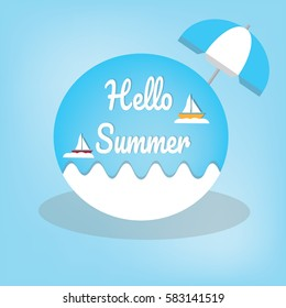 Summer logo vector illustration.Hello summer.