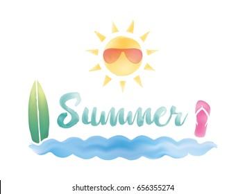 Summer logo. Watercolor effect. Vector design.