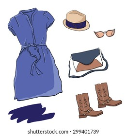 Summer look for girl Stylish summer set of clothes for fashion girls. Light denim dress, straw hat, comfortable roomy bag and steep in the style of cowboy boots.