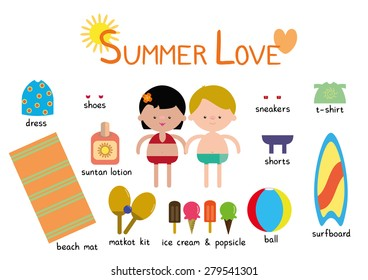 Summer Love Couple Vector