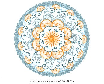 Summer mandala vector illustration with orange, blue, azure seashells and sea waves for coloring books, logos template