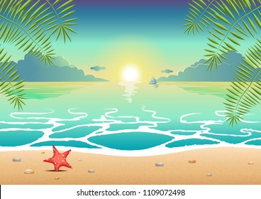 summer marine  sea cartoon wave clouds nature beach island vacation holiday 