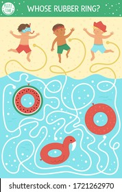 Summer maze for children. Preschool beach holidays activity. Funny puzzle with cute boys and inflatable rubber rings. Holiday game for kids. Printable activity with child, sand and water