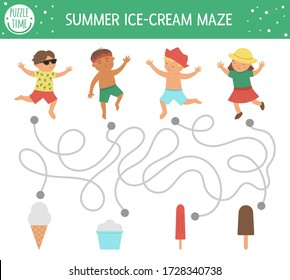 Summer maze for children. Preschool beach holidays activity. Funny puzzle with cute boys, girl and ice-cream. Holiday game for kids. Printable activity with child and ice cream