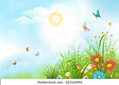 Summer meadow background with green grass, flowers and sun