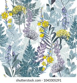 Summer meadow blooming garden Floral monotone blue pattern in the many kind of flowers. Tropical botanical . Seamless vector.for fashion prints. Printing with in hand drawn style on white  background.