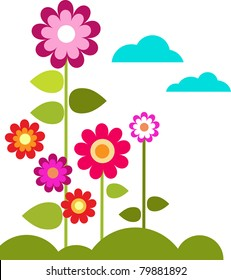 summer meadow with flowers and clouds, vector illustration