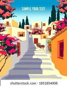 Summer mediterranean cityscape with traditional houses, cypresses, flowers and hills in the background. Handmade drawing vector illustration. Retro style poster.