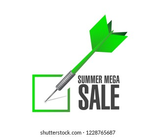 summer mega sale Approval check dart message concept illustration isolated over a white background