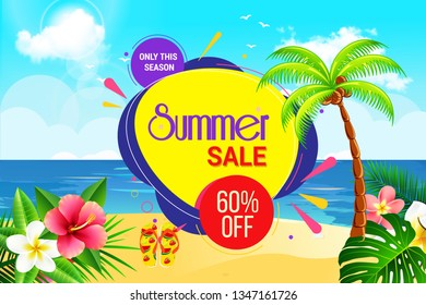 Summer Mega Sale Background with Abstract Realistic Discount Offer Design Poster Download