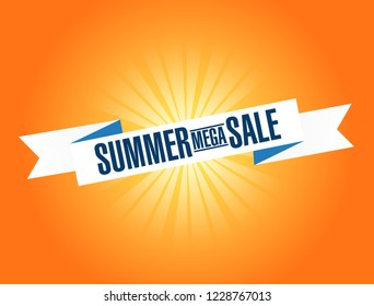 Summer mega Sale bright ribbon message  isolated over a orange background