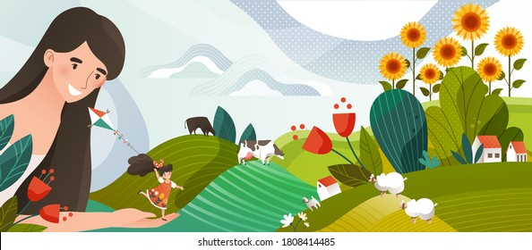 Summer memory concept vector illustration. Cartoon flat happy woman character holding in hand girl running with kite on summertime farmland landscape with farm houses and cows, vacation background