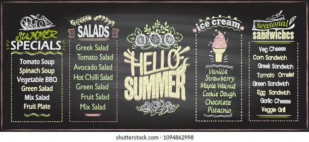Summer menu chalkboard design concept, set of hand drawn summer seasonal menu boards, copy space for text