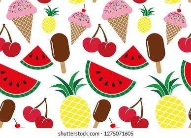 Summer messy background elements of summer, fruits and food, tropical seamless pattern