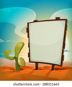 Summer Mexican Desert With Wood Sign/ Illustration of a vintage cartoon mexican desert landscape in the sunrise, in summer season, with cactus plant and blank white paper on a wood sign