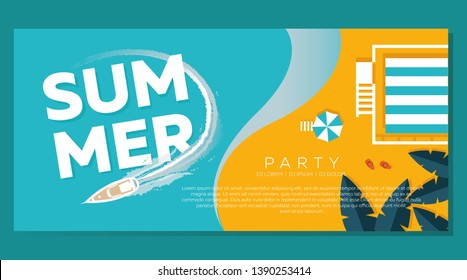 Summer in modern style, banner, flyer, view from above on the beach background with a rescue booth, umbrellas, shale, tropical leaves, sea, beach, yacht. Vector illustration