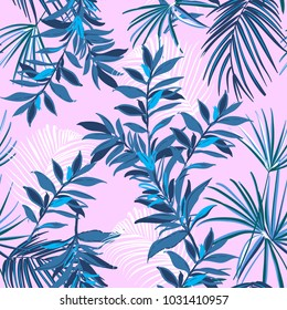 Summer monotone blue Tropical seamless pattern with exotic palm leaves forest . Vector illustration on pink background