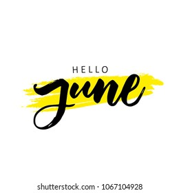 SUMMER MONTH VECTOR HAND LETTERING. HELLO JUNE. JUNE MONTH