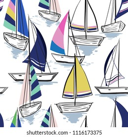 Summer mood Hand drawing  sketch Seamless summer sea pattern with sailing ships on white  background. Nautical pattern vector