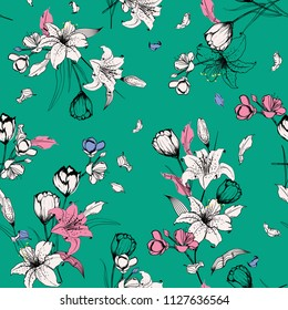 Summer mood outline sketch and hand drawn lily flowers. Botanical Seamless pattern vector texture. For fashion prints. printing ,fabric,fashion wallpaper and all prints on fresh green