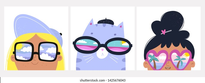 Summer mood. Set of cards with cat and girls with big sunglasses. Different reflections in glasses: cloudy sky, palms and ocean. Hand drawn vector trendy illustrations. Cartoon style. Flat design
