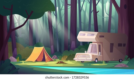 Summer morning landscape with forest river and camping . Summer camp in forest.