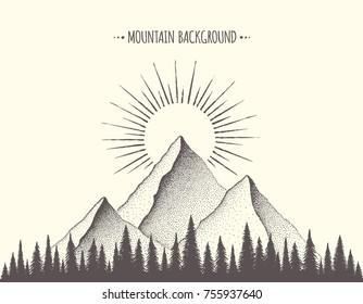 Summer Mountain Background. Vector illustration,  hand drawn sketch.