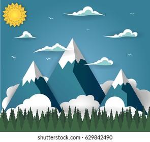Summer mountain landscape with sheep on field. Alpine meadow, green valley, pasture of animals, forest and mountains on a blue sky. Nature background vector illustration in paper art style.
