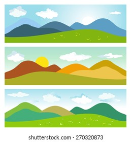 Summer mountains landscape. Set of vector illustrations
