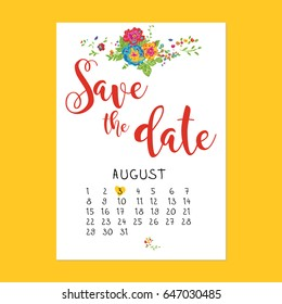 Summer multicolored bouquet in the corner.  Save the date text calligraphy vector with calendar