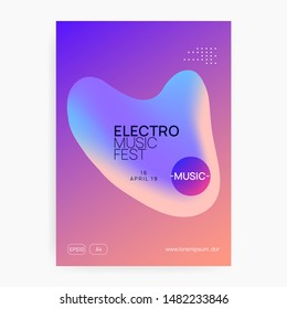 Summer music. Electronic sound. Night dance lifestyle holiday. Feminine house show magazine layout. Fluid holographic gradient shape and line. Fest poster and flyer for summer music.