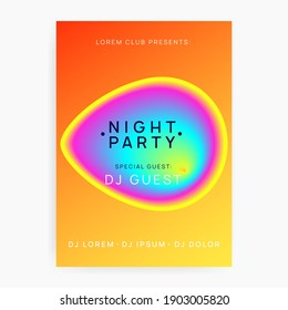 Summer music. Electronic sound. Night dance lifestyle holiday. Fluid holographic gradient shape and line. Wavy disco concert invitation template. Fest poster and flyer for summer music.