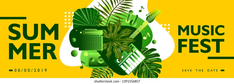 Summer music festival banner poster template with tropical leaves collage shape on yellow background