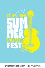 Summer Music Festival poster/ Music concert ad/ Summer party/ Hand drawn musical instruments and typography/ Asian festival and celebrations/ Summer invitation card design/ Lemon guitar art